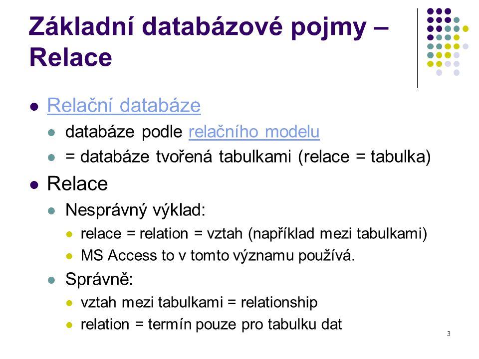 3 Základní databázové pojmy – Relace Relační databáze databáze podle relačního modelurelačního modelu = databáze tvořená tabulkami (relace = tabulka) Relace Nesprávný výklad: relace = relation = vztah (například mezi tabulkami) MS Access to v tomto významu používá.