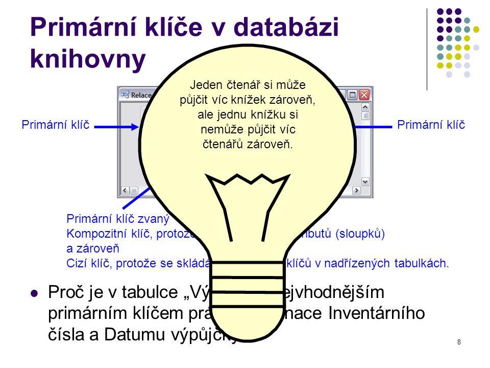 8 Primární klíče v databázi knihovny Primární klíč Primární klíč zvaný Kompozitní klíč, protože se skládá z více atributů (sloupků) a zároveň Cizí klíč, protože se skládá z primárních klíčů v nadřízených tabulkách.
