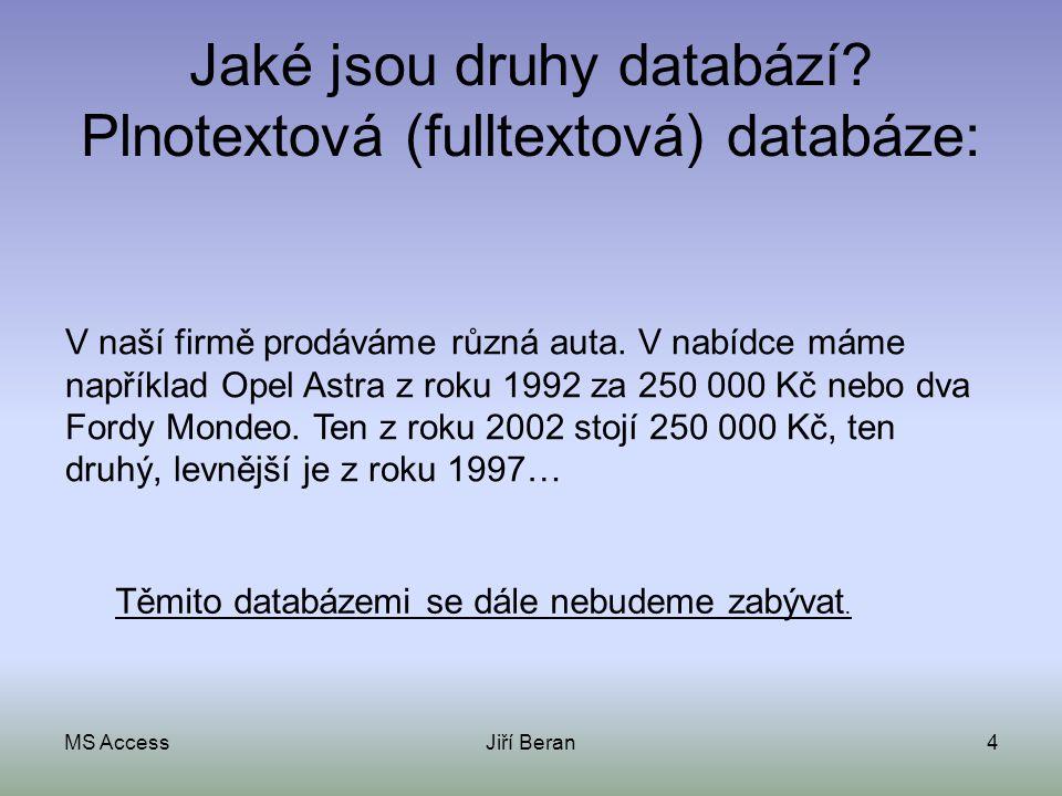 MS AccessJiří Beran4 Jaké jsou druhy databází? Plnotextová (fulltextová) databáze: V naší firmě prodáváme různá auta. V nabídce máme například Opel As