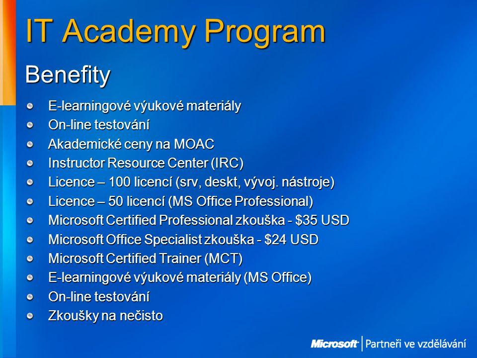 IT Academy Program E-learningové výukové materiály On-line testování Akademické ceny na MOAC Instructor Resource Center (IRC) Licence – 100 licencí (srv, deskt, vývoj.