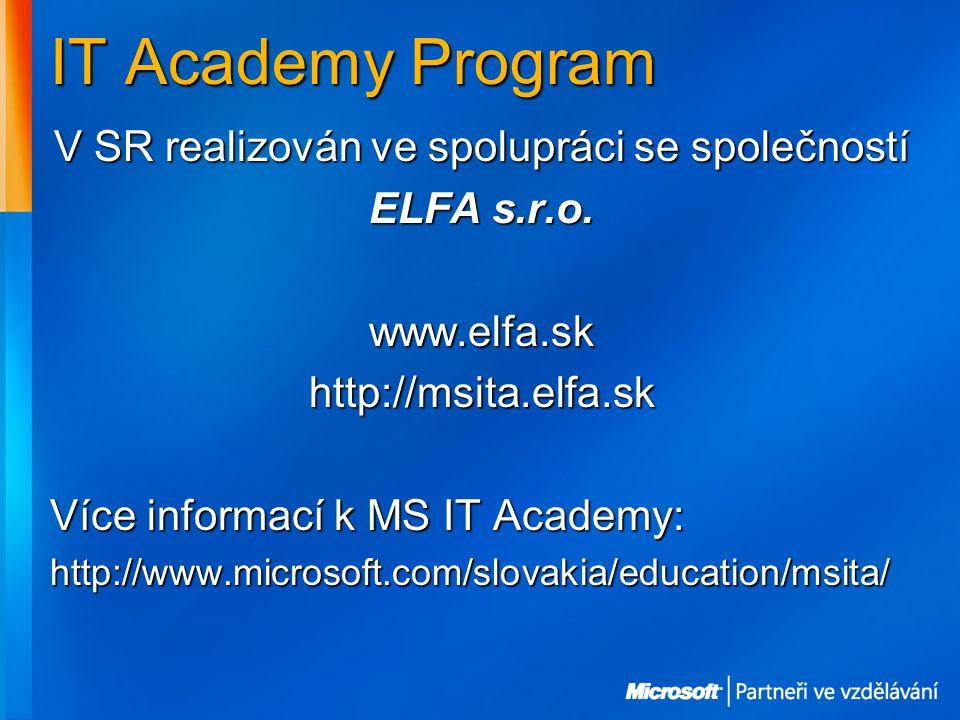 IT Academy Program V SR realizován ve spolupráci se společností ELFA s.r.o.