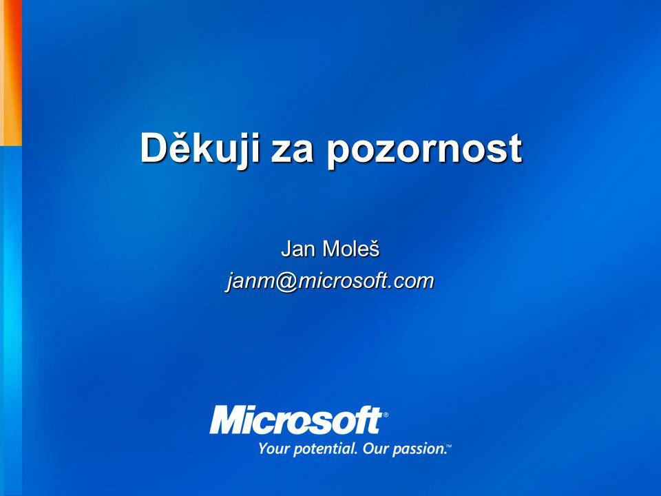 Děkuji za pozornost Jan Moleš janm@microsoft.com