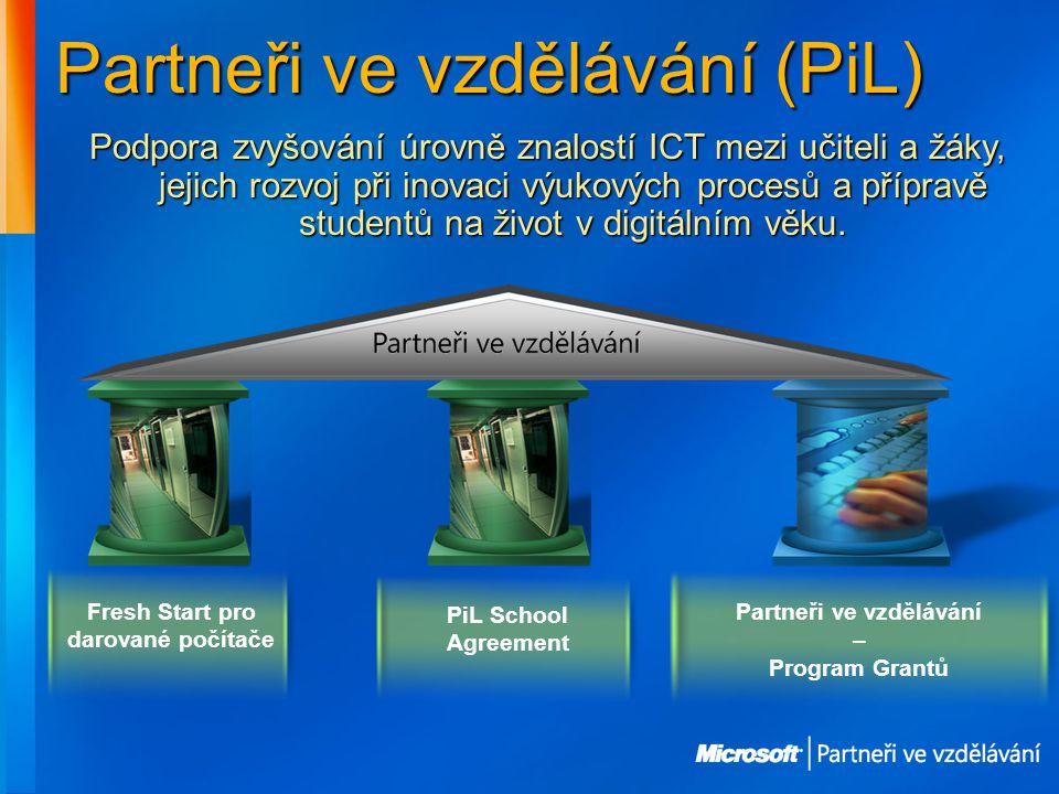 Partneři ve vzdělávání (PiL) Fresh Start pro darované počítače PiL School Agreement Partneři ve vzdělávání – Program Grantů Podpora zvyšování úrovně znalostí ICT mezi učiteli a žáky, jejich rozvoj při inovaci výukových procesů a přípravě studentů na život v digitálním věku.