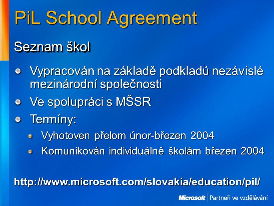 PiL School Agreement Seznam škol Vypracován na základě podkladů nezávislé mezinárodní společnosti Ve spolupráci s MŠSR Termíny: Vyhotoven přelom únor-březen 2004 Komunikován individuálně školám březen 2004 http://www.microsoft.com/slovakia/education/pil/