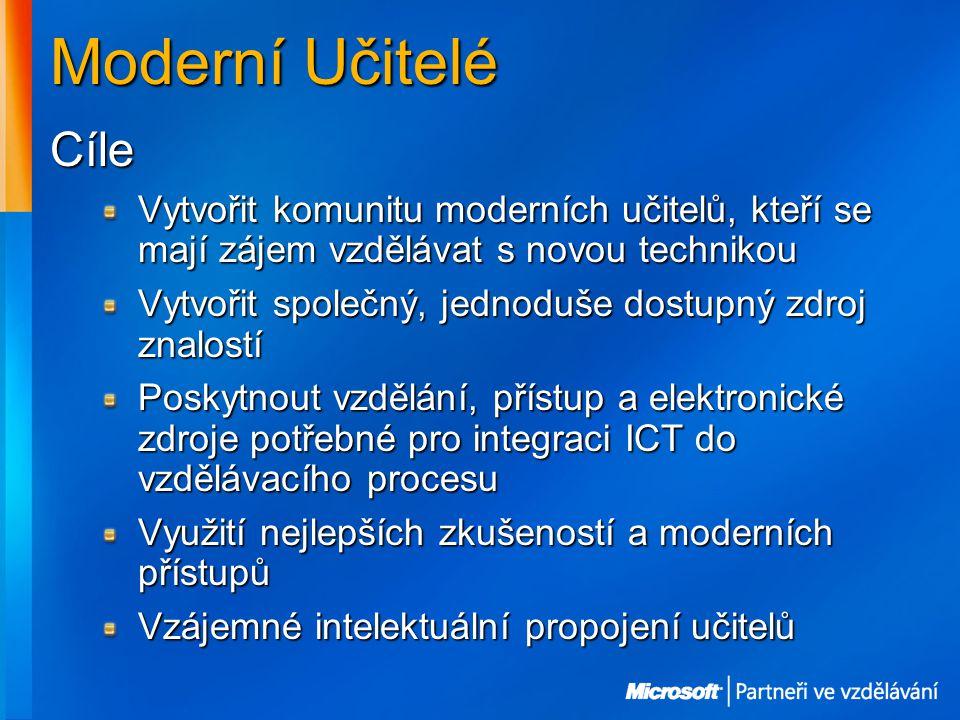 Moderní Učitelé Cíle Vytvořit komunitu moderních učitelů, kteří se mají zájem vzdělávat s novou technikou Vytvořit společný, jednoduše dostupný zdroj znalostí Poskytnout vzdělání, přístup a elektronické zdroje potřebné pro integraci ICT do vzdělávacího procesu Využití nejlepších zkušeností a moderních přístupů Vzájemné intelektuální propojení učitelů