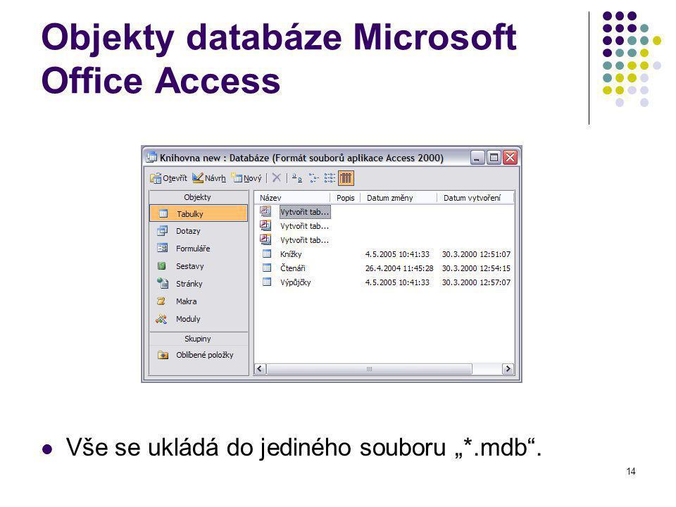 """14 Objekty databáze Microsoft Office Access Vše se ukládá do jediného souboru """"*.mdb ."""