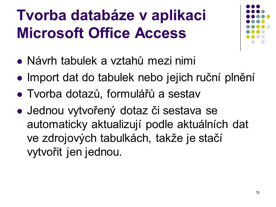 16 Tvorba databáze v aplikaci Microsoft Office Access Návrh tabulek a vztahů mezi nimi Import dat do tabulek nebo jejich ruční plnění Tvorba dotazů, formulářů a sestav Jednou vytvořený dotaz či sestava se automaticky aktualizují podle aktuálních dat ve zdrojových tabulkách, takže je stačí vytvořit jen jednou.