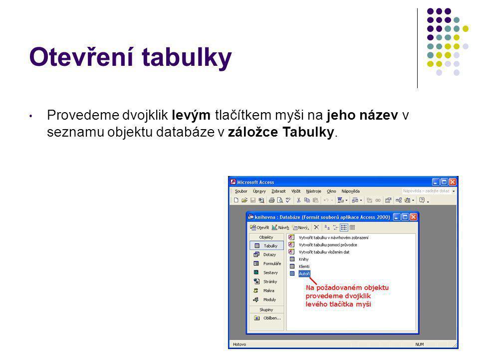 20 Otevření tabulky Provedeme dvojklik levým tlačítkem myši na jeho název v seznamu objektu databáze v záložce Tabulky.