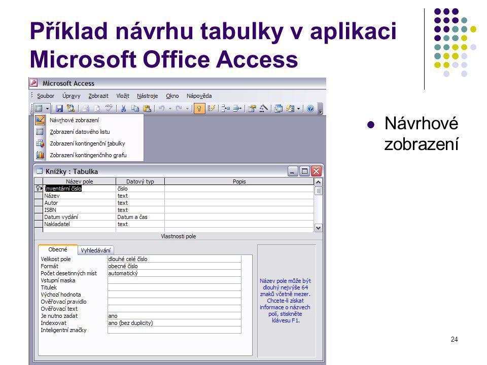 24 Příklad návrhu tabulky v aplikaci Microsoft Office Access Návrhové zobrazení