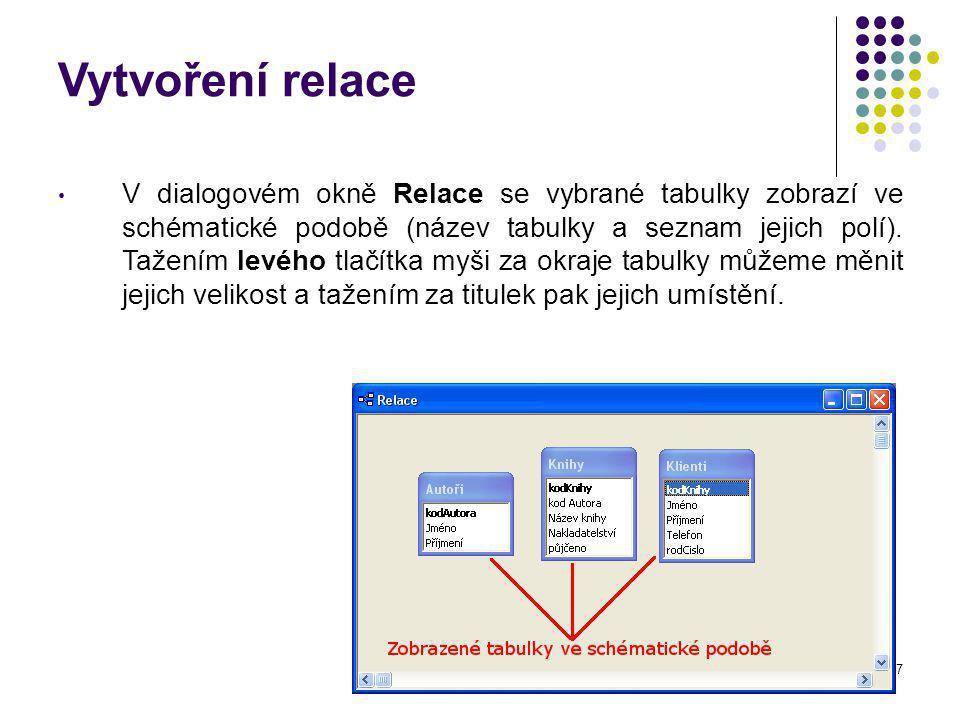 27 Vytvoření relace V dialogovém okně Relace se vybrané tabulky zobrazí ve schématické podobě (název tabulky a seznam jejich polí).