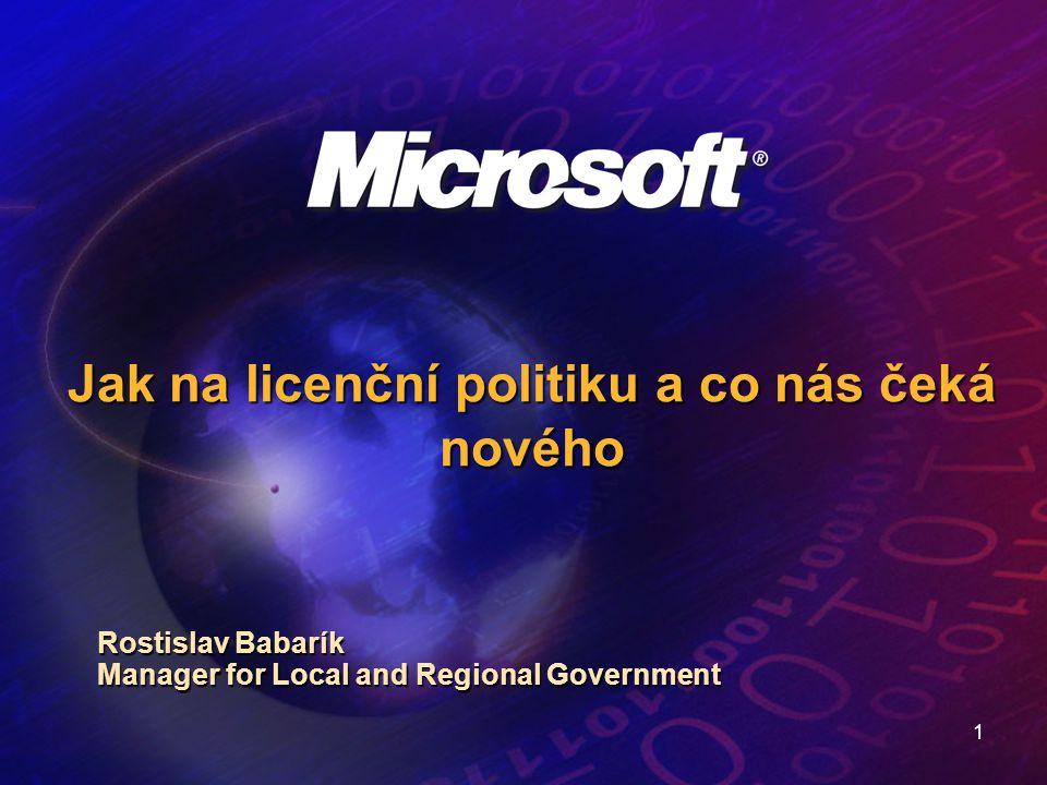12 Licenční politika Microsoft – příklad Příklad – EA, 500 PC, Dskt Pro – End User Price (Euro), Cena za 1 PC – 287 Zohlednění dřívějších nákupů – 273 (tj.