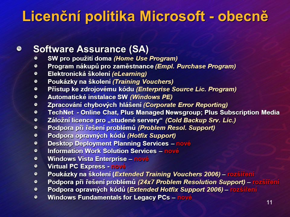 11 Licenční politika Microsoft - obecně Software Assurance (SA) SW pro použití doma (Home Use Program) Program nákupů pro zaměstnance (Empl. Purchase