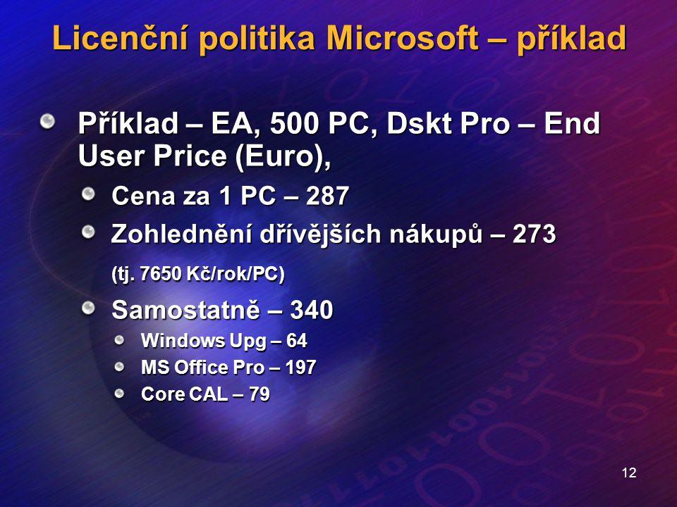 12 Licenční politika Microsoft – příklad Příklad – EA, 500 PC, Dskt Pro – End User Price (Euro), Cena za 1 PC – 287 Zohlednění dřívějších nákupů – 273