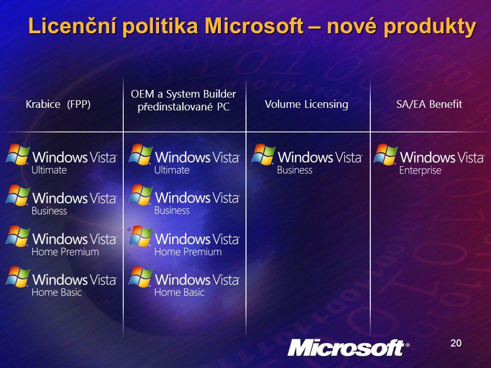 20 Licenční politika Microsoft – nové produkty Krabice (FPP) OEM a System Builder předinstalované PC Volume LicensingSA/EA Benefit