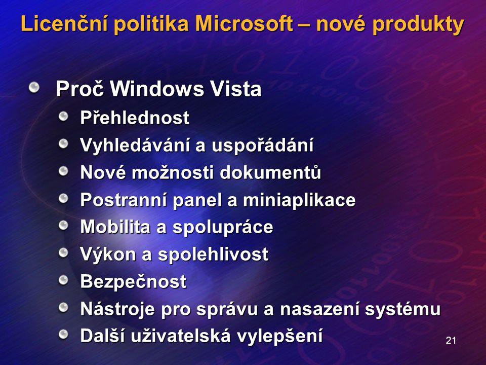 21 Licenční politika Microsoft – nové produkty Proč Windows Vista Přehlednost Vyhledávání a uspořádání Nové možnosti dokumentů Postranní panel a minia