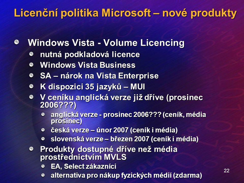 22 Licenční politika Microsoft – nové produkty Windows Vista - Volume Licencing nutná podkladová licence Windows Vista Business SA – nárok na Vista En