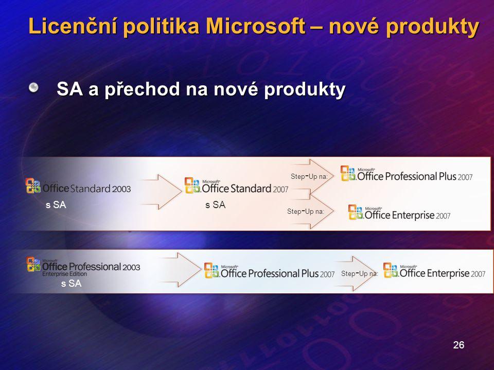 26 Licenční politika Microsoft – nové produkty SA a přechod na nové produkty s SA Step - Up na: s SA