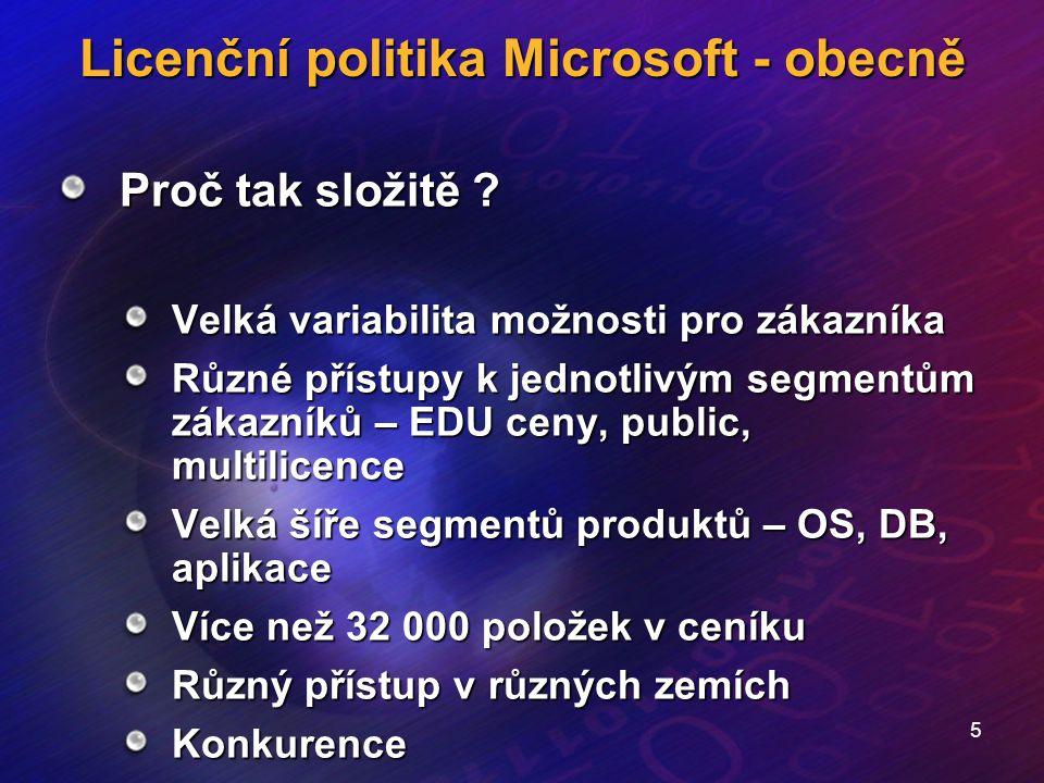 5 Licenční politika Microsoft - obecně Proč tak složitě ? Velká variabilita možnosti pro zákazníka Různé přístupy k jednotlivým segmentům zákazníků –
