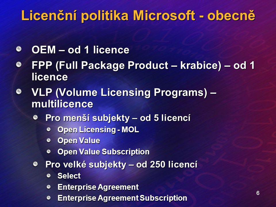 6 Licenční politika Microsoft - obecně OEM – od 1 licence FPP (Full Package Product – krabice) – od 1 licence VLP (Volume Licensing Programs) – multil