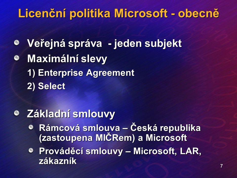 8 Licenční politika Microsoft - obecně Select Trvalé licence Multilicenční slevy - nákup podle úrovně D (75000 jednotek ve všech kateroriích – aplikace, systémy, servery) Stanovená doba smluvního vztahu – 3 roky Nákup kdykoliv během této doby – garance cenové hladiny Prodává LAR Může se platit Software Agreement (SA) – po skončení smlouvy se platí pouze SA