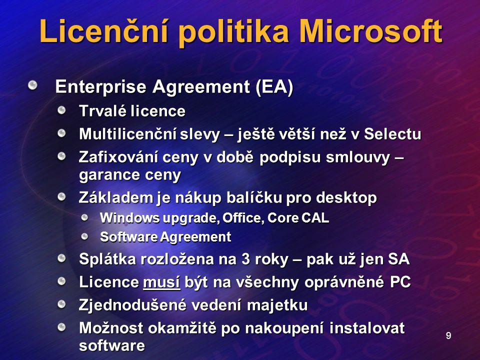 9 Licenční politika Microsoft Enterprise Agreement (EA) Trvalé licence Multilicenční slevy – ještě větší než v Selectu Zafixování ceny v době podpisu
