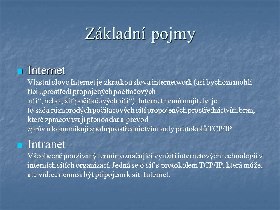 """Základní pojmy Internet Internet Vlastní slovo Internet je zkratkou slova internetwork (asi bychom mohli říci """"prostředí propojených počítačových sítí"""