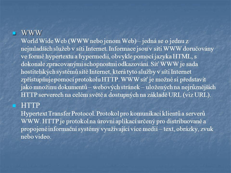 WWW WWW World Wide Web (WWW nebo jenom Web) – jedná se o jednu z nejmladších služeb v síti Internet. Informace jsou v síti WWW doručovány ve formě hyp