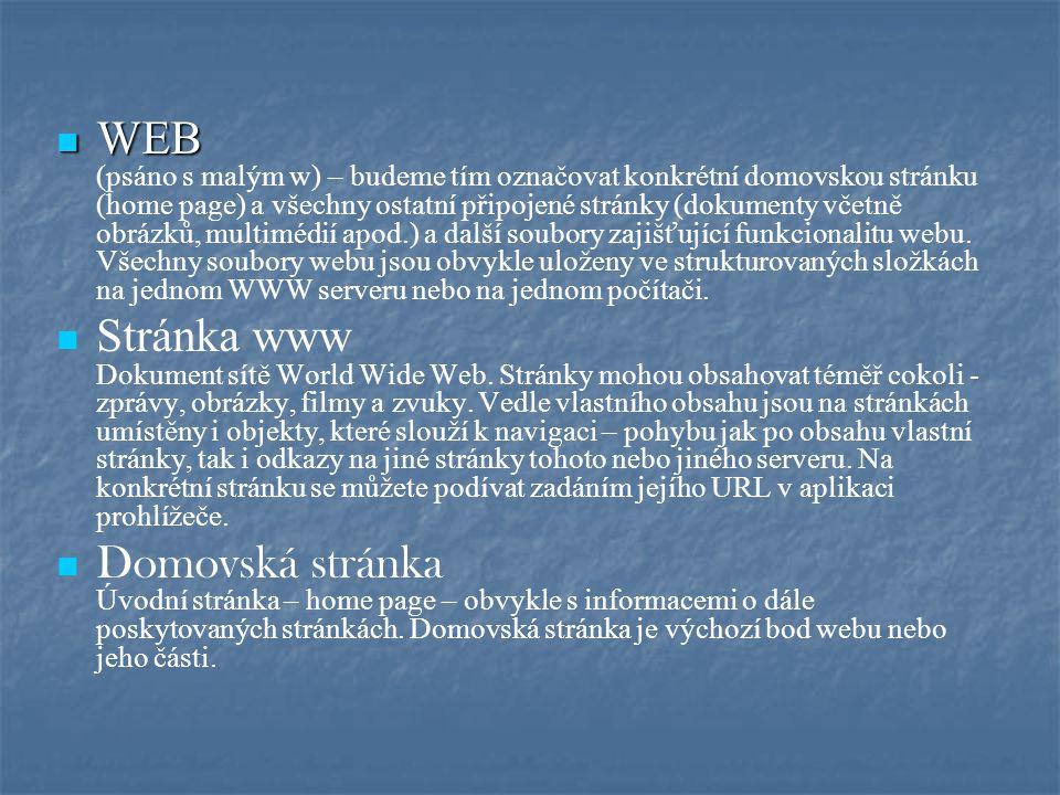 WEB WEB (psáno s malým w) – budeme tím označovat konkrétní domovskou stránku (home page) a všechny ostatní připojené stránky (dokumenty včetně obrázků