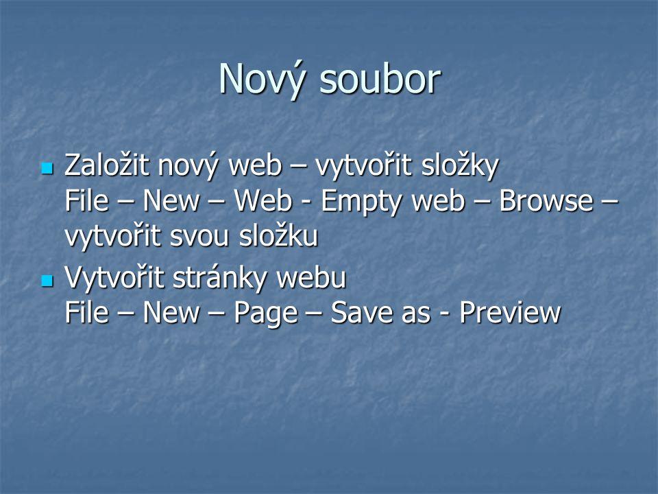 Nový soubor Založit nový web – vytvořit složky File – New – Web - Empty web – Browse – vytvořit svou složku Založit nový web – vytvořit složky File –