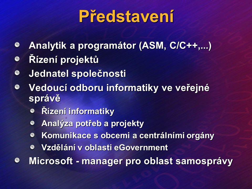 Představení Analytik a programátor (ASM, C/C++,...) Řízení projektů Jednatel společnosti Vedoucí odboru informatiky ve veřejné správě Řízení informati