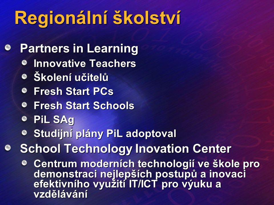 Regionální školství Partners in Learning Innovative Teachers Školení učitelů Fresh Start PCs Fresh Start Schools PiL SAg Studijní plány PiL adoptoval