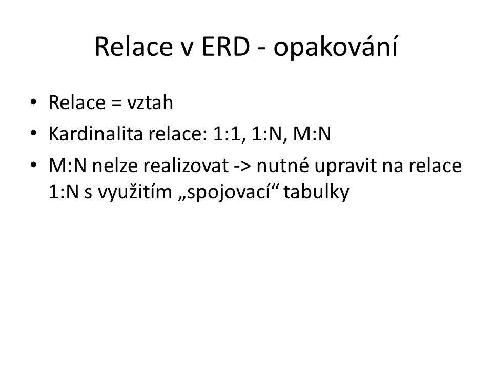 """Relace v ERD - opakování Relace = vztah Kardinalita relace: 1:1, 1:N, M:N M:N nelze realizovat -> nutné upravit na relace 1:N s využitím """"spojovací"""" t"""