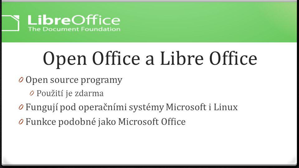 Open Office a Libre Office 0 Open source programy 0 Použití je zdarma 0 Fungují pod operačními systémy Microsoft i Linux 0 Funkce podobné jako Microso