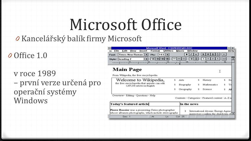 Microsoft Office - vývoj 0 1989 – Office 1.0 0 1992 – Office 3.0 0 1994 – Office 4.0 0 1995 – Office 95 - první 32b aplikace 0 1996 – Office 97 0 1999 – Office 2000 0 2001 – Office XP 0 2003 – Office 2003 0 2007 – Office 2007 - úplně nový vzhled - nový typ souborů 0 2010 – Office 2010 - první 64b aplikace 0 2013 – Office 2013