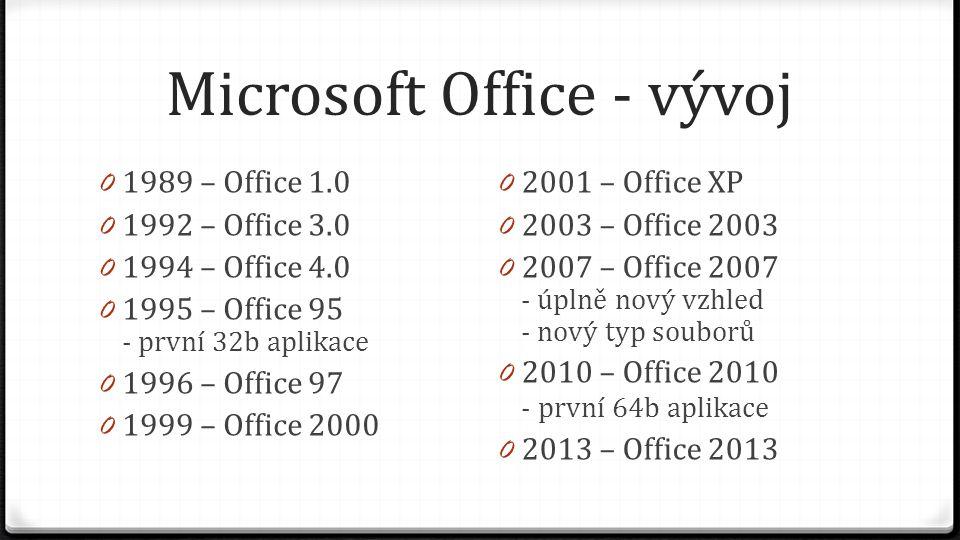 Microsoft Office - vývoj 0 1989 – Office 1.0 0 1992 – Office 3.0 0 1994 – Office 4.0 0 1995 – Office 95 - první 32b aplikace 0 1996 – Office 97 0 1999