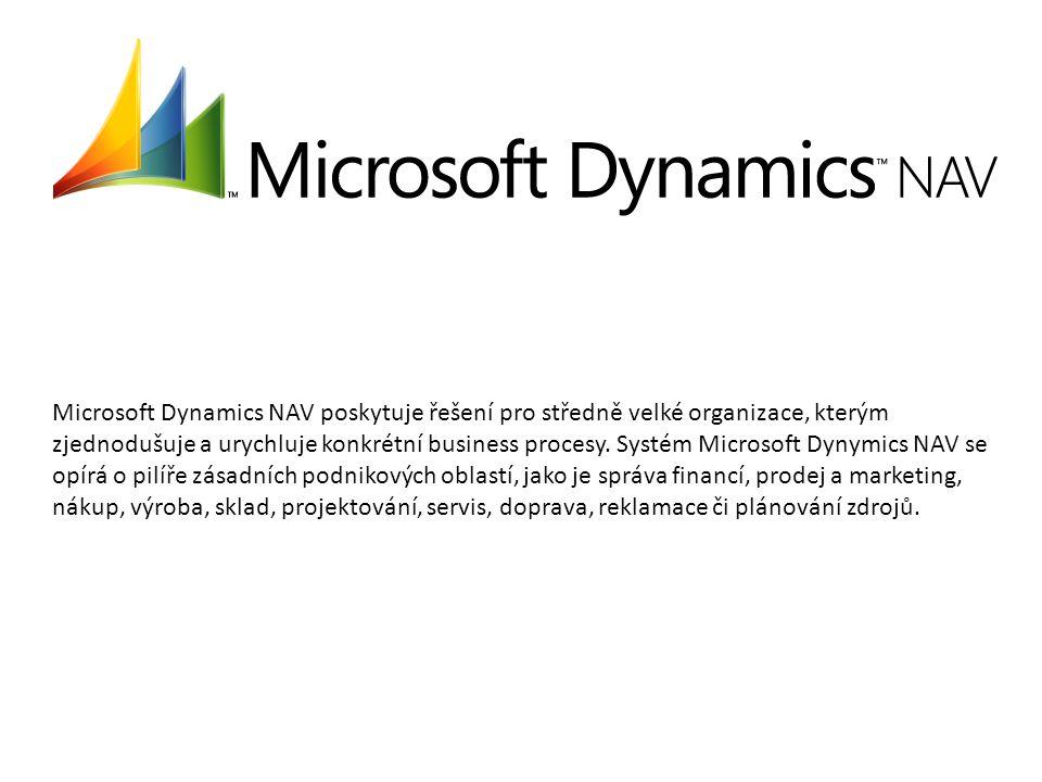 Microsoft Dynamics NAV poskytuje řešení pro středně velké organizace, kterým zjednodušuje a urychluje konkrétní business procesy. Systém Microsoft Dyn