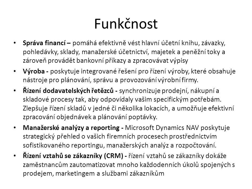 Funkčnost Správa financí – pomáhá efektivně vést hlavní účetní knihu, závazky, pohledávky, sklady, manažerské účetnictví, majetek a peněžní toky a zár