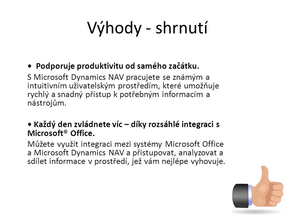 Výhody - shrnutí Podporuje produktivitu od samého začátku. S Microsoft Dynamics NAV pracujete se známým a intuitivním uživatelským prostředím, které u
