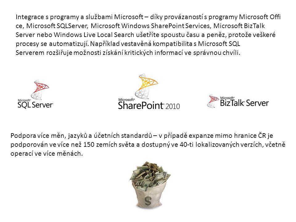 Integrace s programy a službami Microsoft – díky provázaností s programy Microsoft Offi ce, Microsoft SQLServer, Microsoft Windows SharePoint Services