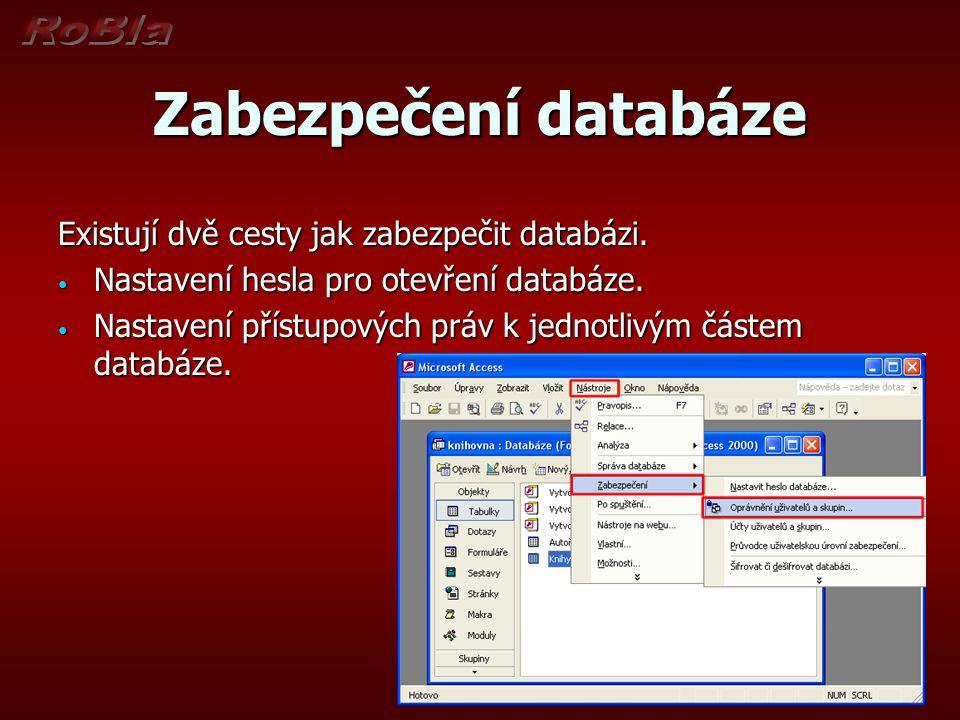 Zabezpečení databáze Existují dvě cesty jak zabezpečit databázi.