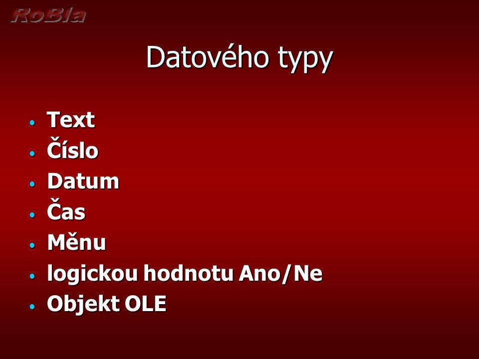 Datového typy Text Text Číslo Číslo Datum Datum Čas Čas Měnu Měnu logickou hodnotu Ano/Ne logickou hodnotu Ano/Ne Objekt OLE Objekt OLE