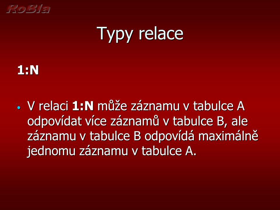 Typy relace 1:N V relaci 1:N může záznamu v tabulce A odpovídat více záznamů v tabulce B, ale záznamu v tabulce B odpovídá maximálně jednomu záznamu v tabulce A.