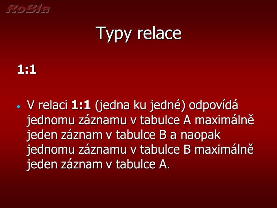 Typy relace 1:1 V relaci 1:1 (jedna ku jedné) odpovídá jednomu záznamu v tabulce A maximálně jeden záznam v tabulce B a naopak jednomu záznamu v tabulce B maximálně jeden záznam v tabulce A.