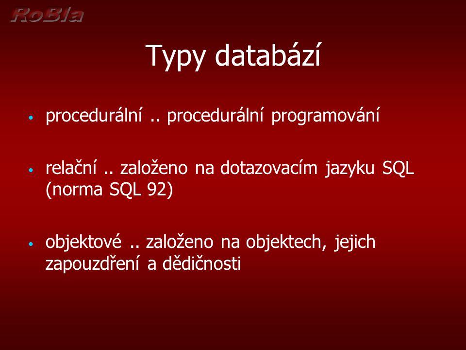 Typy databází procedurální..procedurální programování relační..