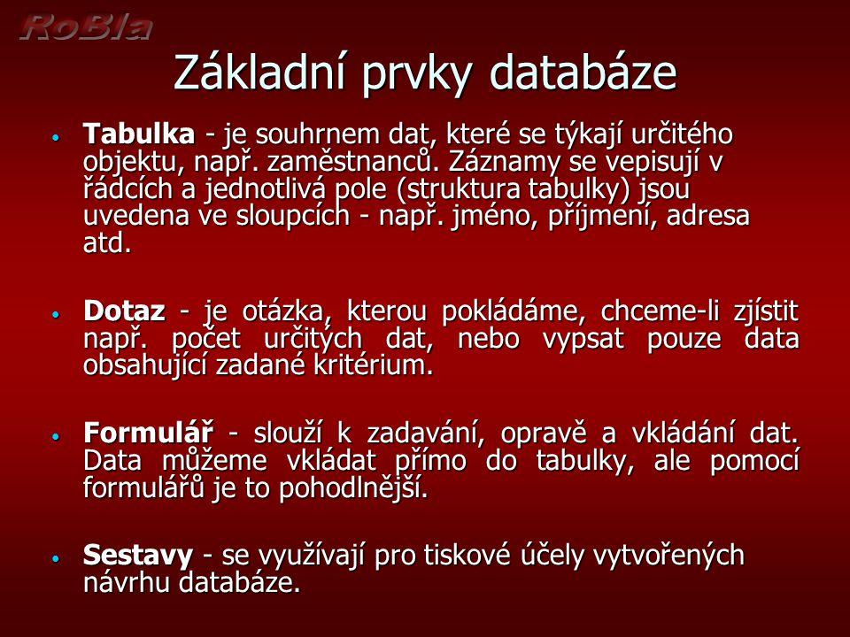 Základní prvky databáze Tabulka - je souhrnem dat, které se týkají určitého objektu, např.