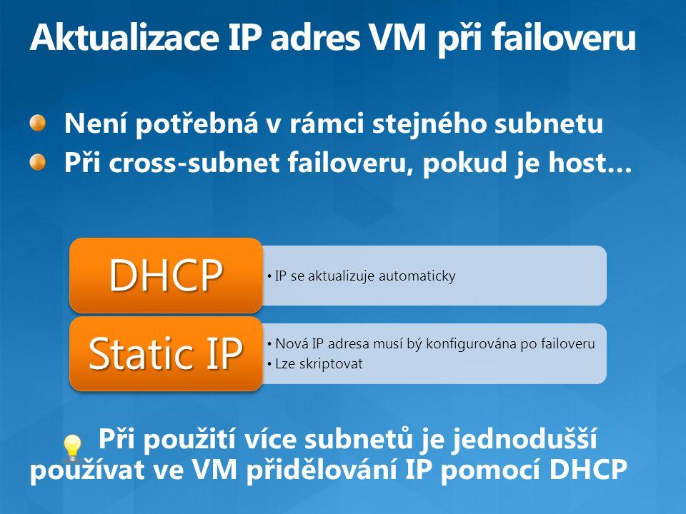 IP se aktualizuje automaticky DHCP Nová IP adresa musí bý konfigurována po failoveru Lze skriptovat Static IP