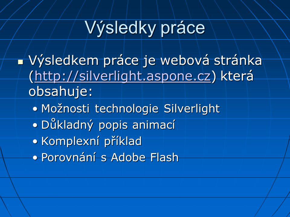 Výsledky práce Výsledkem práce je webová stránka (http://silverlight.aspone.cz) která obsahuje: Výsledkem práce je webová stránka (http://silverlight.