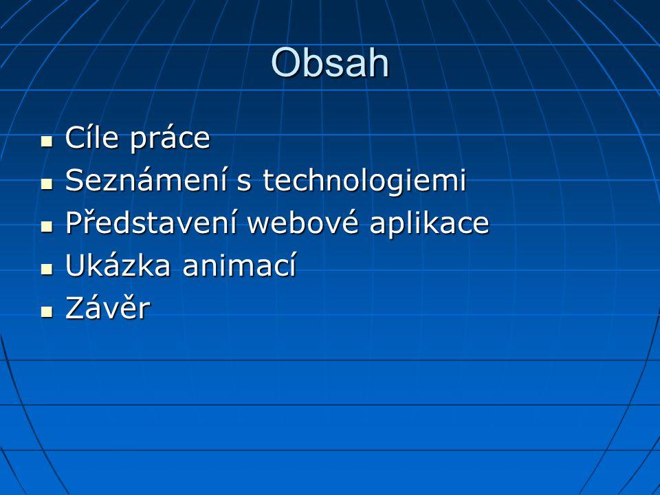 Obsah Cíle práce Cíle práce Seznámení s tech n ologiemi Seznámení s tech n ologiemi Představení webové aplikace Představení webové aplikace Ukázka ani