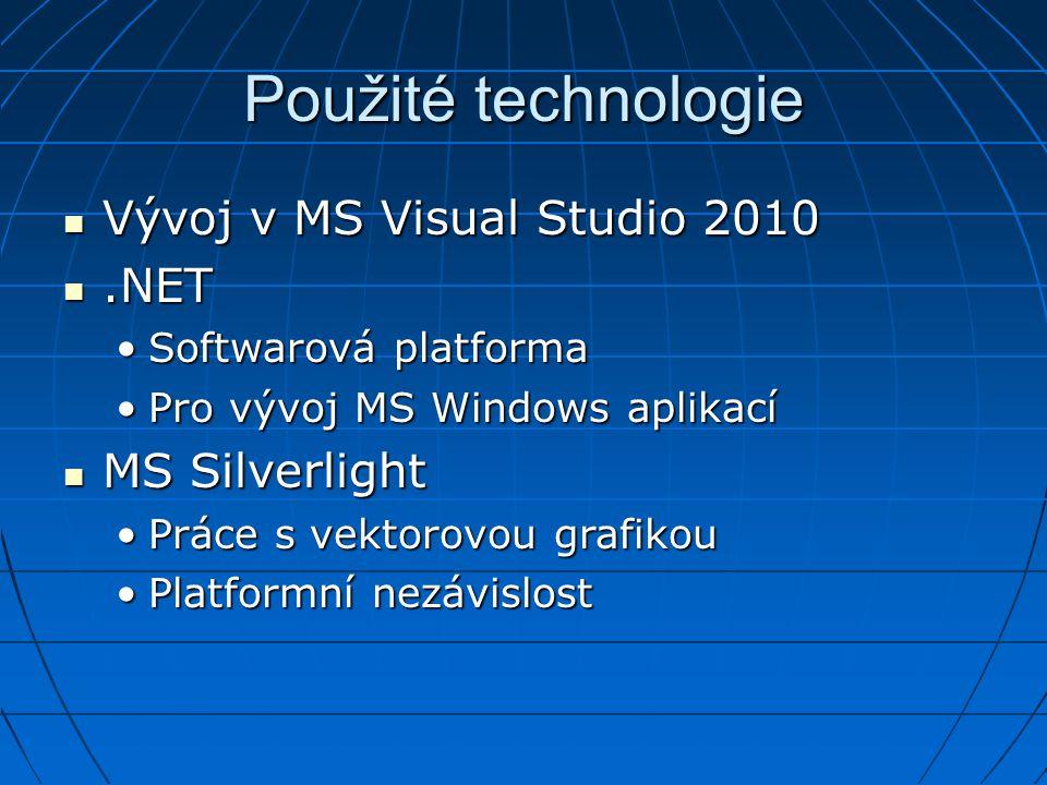 Použité technologie Vývoj v MS Visual Studio 2010 Vývoj v MS Visual Studio 2010.NET.NET Softwarová platformaSoftwarová platforma Pro vývoj MS Windows