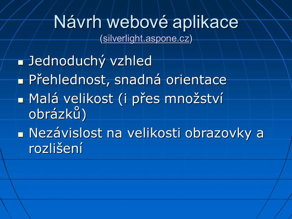 Návrh webové aplikace (silverlight.aspone.cz) silverlight.aspone.cz Jednoduchý vzhled Jednoduchý vzhled Přehlednost, snadná orientace Přehlednost, sna